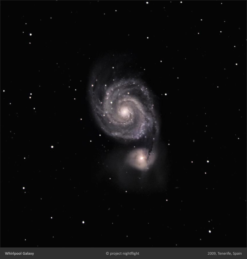 M51 whirlpool galaxy with BRT bradford robotic telescope by project nightflight