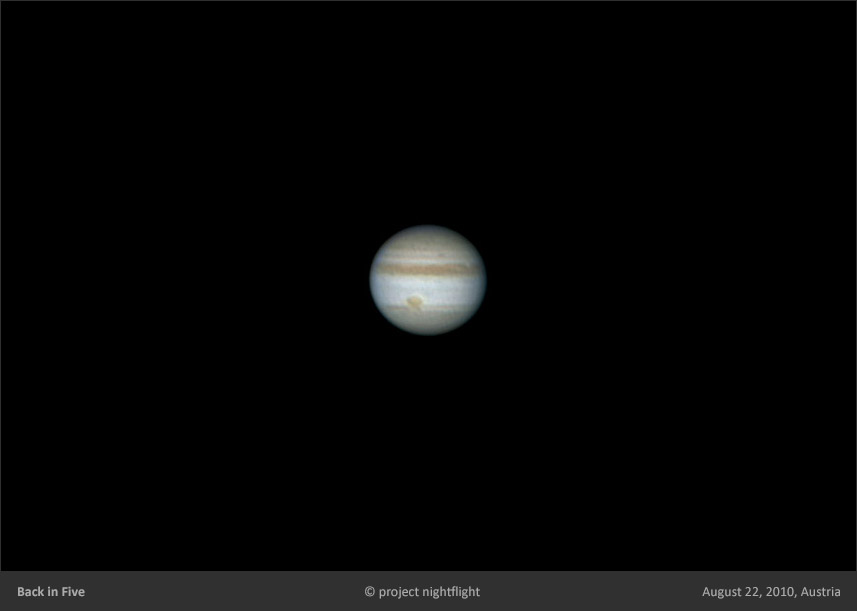 Jupiter with GRS Great Red Spot and Red Junior imaged with ETX-90 by project nightflight