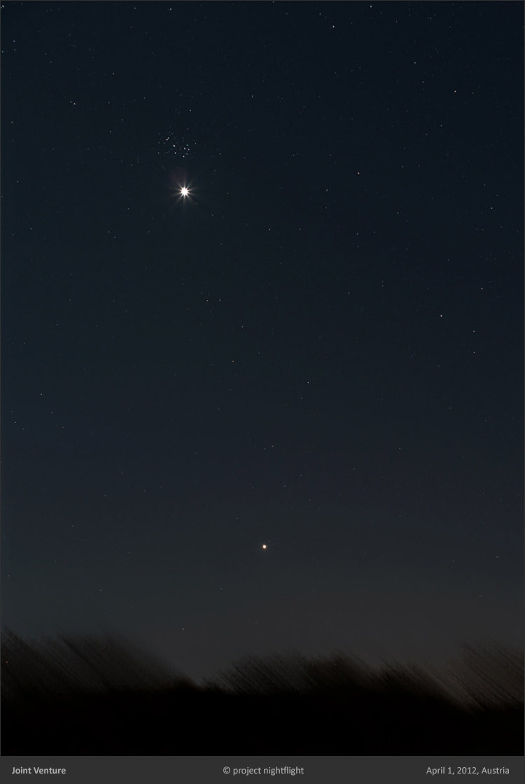 Plejades/Venus conjunction in April 2012 by project nightflight
