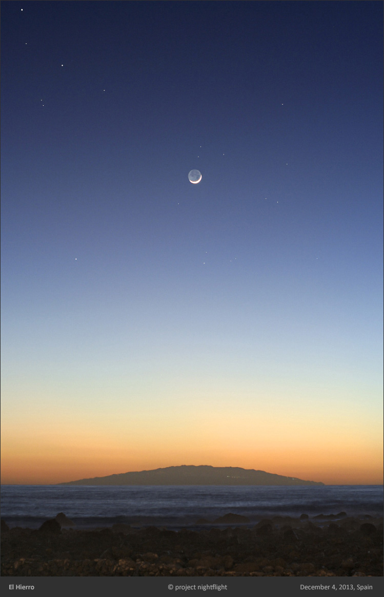 Young Moon Over El Hierro Island