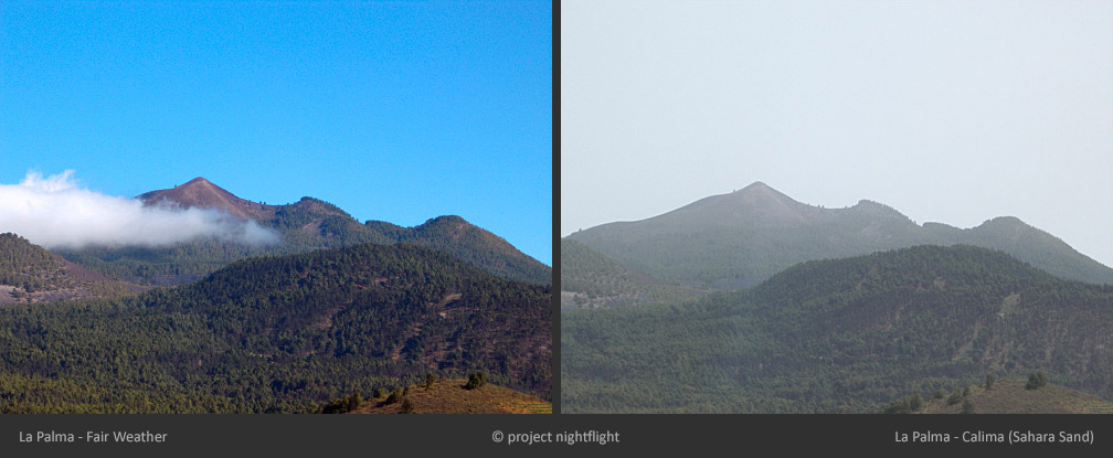 comparison calima and fair weather on la palma island