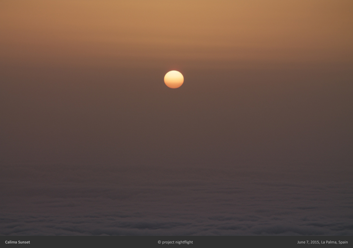 sunset on la palma island during calima sahara dust