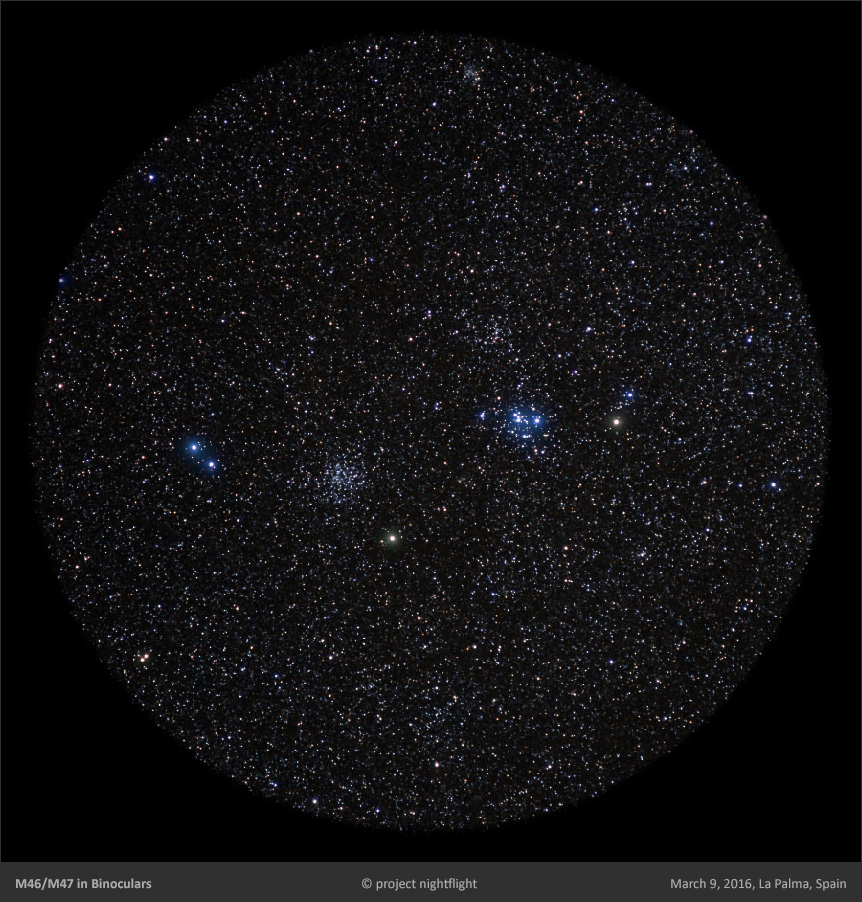 m46 and m47 open clusters as visible in binoculars