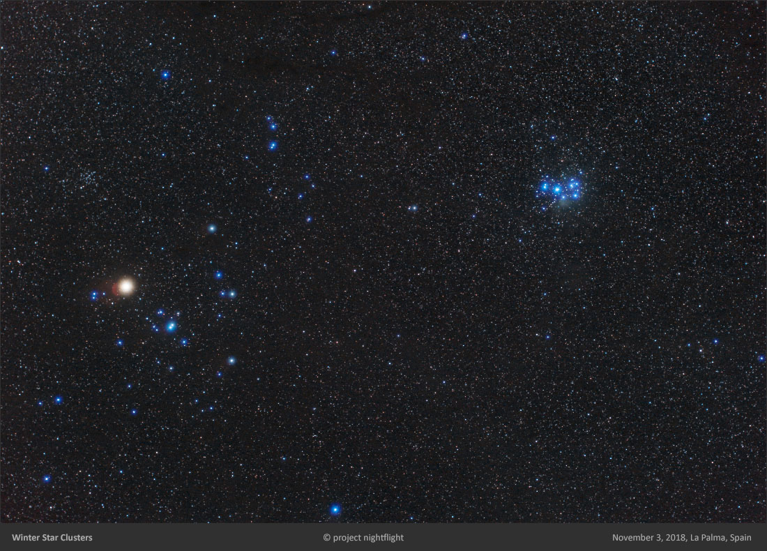 Omegon Mini Track LX2 Sample Picture of Hyades and Pleiades
